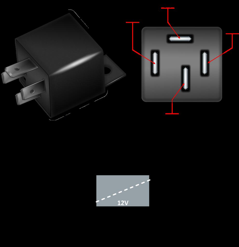 Ilustração dos pontos de ligação relé