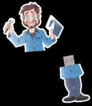Pen drive em formato de um desenho de um homem, ele está segurando um manual na mão direita e na mão esquerda uma chave inglesa.